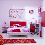 Colorful-Area-Rug-Idea-Also-Modern-Children-Bedroom-Furniture-With-Red-And-White-Paint-Plus-Quirky-Wall-Decoration
